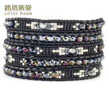 Lotus Mann Twilight black leather cord 5 spelling a flower wrap fashion bracelets seed beads