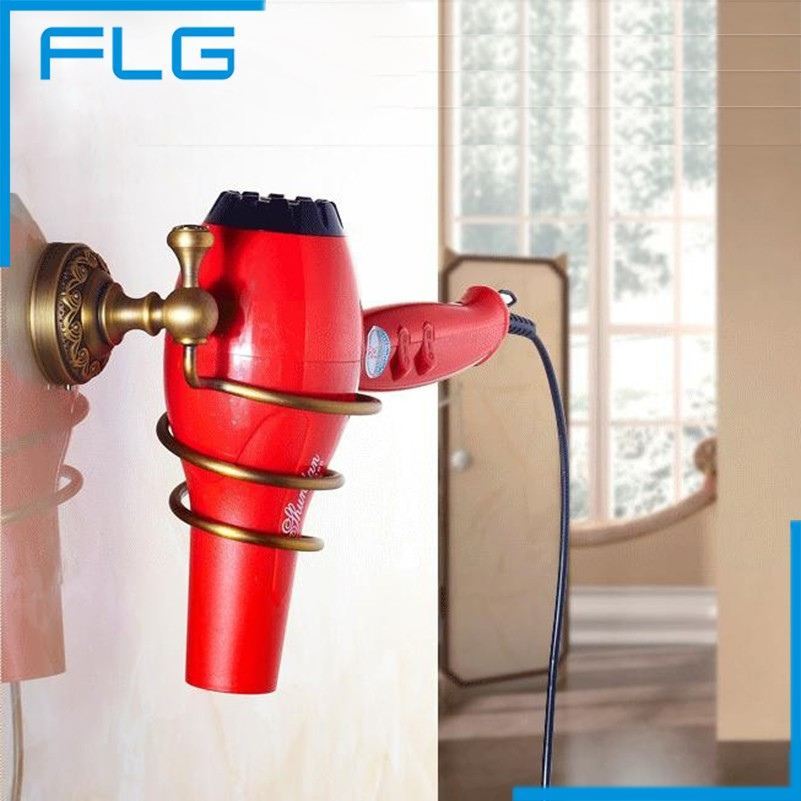 2017 Decoration Bathroom Accessories Antique Brass Hair Dryer Rack,  Bolt Inserting Type Storage Hair Dryer Holder Shelf<br><br>Aliexpress