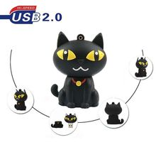 Cartoon black Cat USB flash drive 64GB 32GB 8GB Cat Pen drive disk memory stick 16GB U disk pendrive hot sale