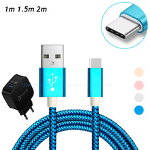100cm/150cm/200cm/Long Type C Charging Cable Charger for Smartphone 1/1.5/2 Meter USB-C Nylon Braided Type-C Cable 1m/1.5m/2m(China)