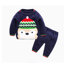 Christmas Baby Girl Boy Sweater Cardigan Infant Knitted Clothing Set Infant Long Sleeve Shirt +Pant Jumper(China)