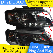 D_YL Car Styling for Audi A6 Headlights 1999-2004 for Audi A6 LED Headlight DRL Lens Double Beam H7 HID Xenon bi xenon lens