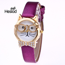 5 Color Cartoon Cat Cute Children Watch Fashion Princess Leather Strap Quartz Watch Kids Girls Student Casual Clock Relogio(China)