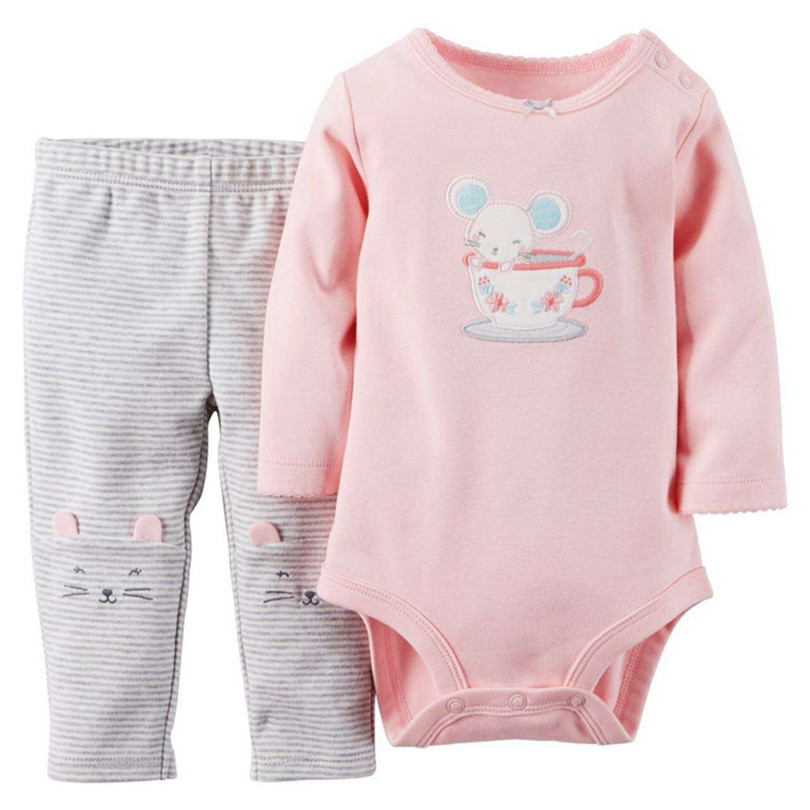 Baby Girl Outfit Cartoon Mouse Long Sleeve Cotton Pink Baby Romper Jumpsuits Newborns Infant Children Clothing Baby Clothing Set<br><br>Aliexpress