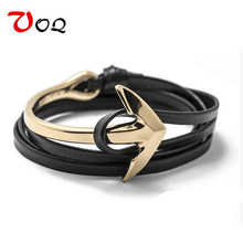 2017 New Arrival Fashion Half Bend Anchor Bracelet Jewelry 76cm PU Leather Bracelet Men Tom Hope Free Shipping