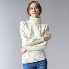 Turtleneck knitted pullover sweater Women hollow out soft jumper pull femme Autumn winter warm knitting sweater(China)