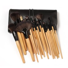 100sets Professional Wooden Makeup Brushes Set Natural Brushes of High Quality With Portable PU  Bag (24 pcs/set)  Free shipping