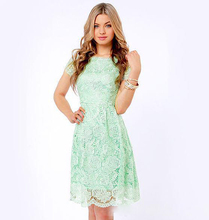 Vestido de Festa Longo 2016 Discount Backless Lace Green Party Dresses Knee Length Bridesmaid Dresses