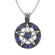 "Vintage Style Jewelry Pentagram Pentacle Pagan Wiccan Witch Gothic Pewter Pendant Necklace for Men Woman 24"" Chain Choker(China)"