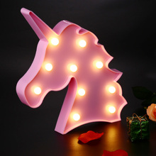 Cute Lovely Night Light Animal Marquee Lamps Unicorn Head Led On Wall For Children Party Bedroom Decor Kids Gifts(China)