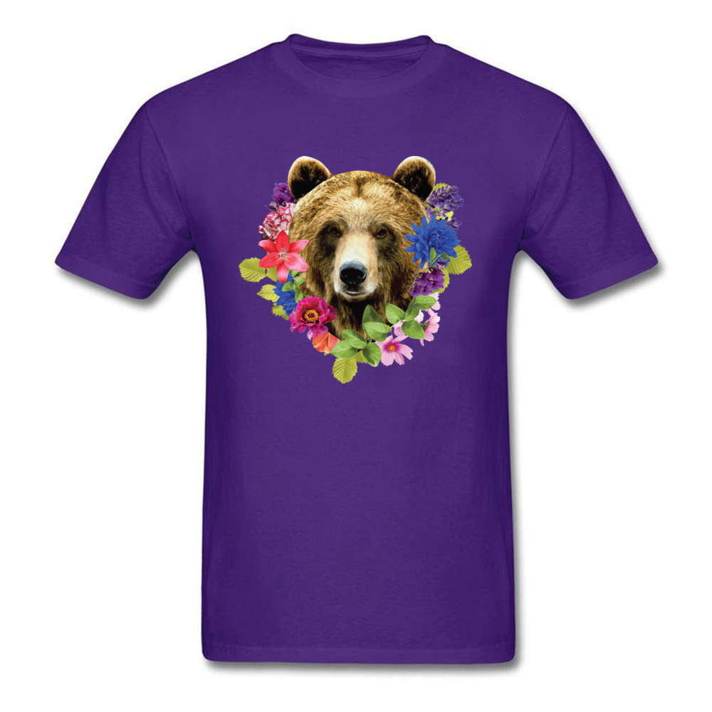 Floral Bearr Mens Fied Classic Tops T Shirt Round Collar Lovers Day Coon T-shirts Summer Short Sleeve Sweatshirts Floral Bearr purple