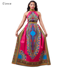 African Print Maxi Dress Women Fashion Style Totem Pattern Halter Evening Attire Long Dashiki Dress African Traditional Clothing