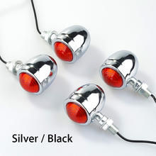 4 x Motorcycle Black/Silver Turn Signal Light Indicator Flasher Blinker Chopper Bobber Oldschool Cafe Racer Universal