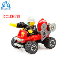 City Fire Fighting Series Building Blocks Toys DIY Firefighting Crew Fire Brigade Truck Car Education Toy Compatible Legoe Duplo(China)