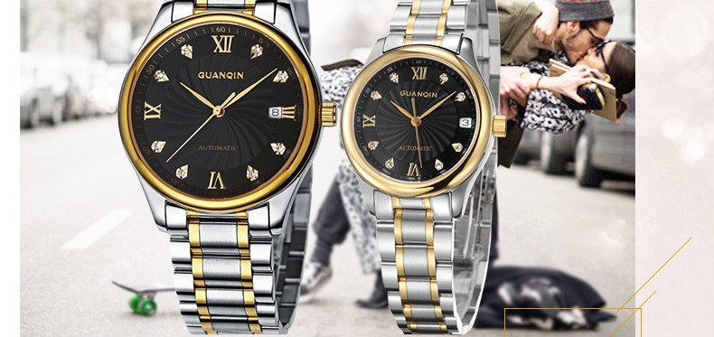 GUANQIN Luxury Lovers Watch Top Brand Women Men Watches Waterproof Sapphire Crystal 316L Stainless Steel Couple Watches 2 Pieces (15)
