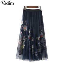 Vadim butterfly floral embroidery mesh maxi skirts navy pleated vintage faldas mujer elastic waist ladies casual skirts BSQ612(China)