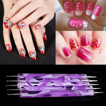 2-Ways Nail Art Design Set Nail Dotting Pen Painting Drawing Brush Polish Marbleizing Dual-Ball Tool Purple