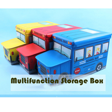 Children Folding Cartoon Storage Chair School Bus Pattern Storage Box 55*33*26 Sundries Organizer Box Stool Bearing 90KG(China)