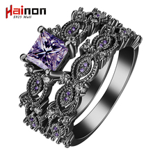 black silver plated Rings sets blue pink white purple color zircon trendy new fashion jewelry gift princess Engagement Rings(China)