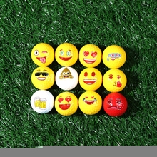 Free Shipping 12pcs/set Rubber Material Outdoor Indoor Emoji Double Layer Practice Golf Ball For Trainning(China)