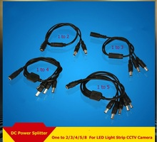 5pcs/lot DC Power Splitter Cable Cord Adapter 1 Female to 2/3/4/5/8 Male For LED Light Strip CCTV Camera(China)