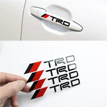 4 x Newest Car-Styling TRD Car Door Handle Stickers and decals Reflective Car Decoration for Toyota Corolla Avensis Rav4 Camry