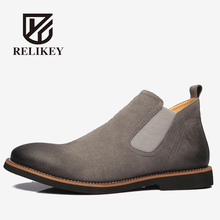 RELIKEY Brand New Arrival Casual Men Boots Handmade Cow Split Shoes High Quality Genuine Leather Chelsea Ankle boots for Men
