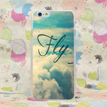 566-GOP Fly Clear blue Sky Airplane Hard Transparent Case Cover for iPhone 4 4s 5 5s SE 5C 6 6s Plus 7 7 Plus