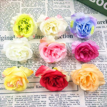 10 PCS (5 cm/flower) simulation of artificial silk rose flowers, flower heads/things DIY gift box collage wedding decoration(China)