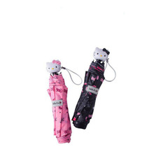Black and Pink Romantic Hello Kitty Folding Umbrella for Lady Girls(China)