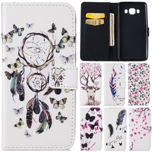 Luxury Cute Cartoon 3D Butterfly Net Flower Deer Leather Flip Fundas Case For Samsung Galaxy J3 J5 2016 J310 J510 Back Cover