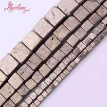 "3,4,6,8,10mm Natural Square Silver Gray Pyrite Stone Beads Strand 15"" For DIY Necklace Bracelets Jewelry Making,Free Shipping(China)"