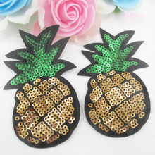 pineapple sequins Embroidery patch diy clothing patch applique decoration DIY accessories Sewing Supplies,10Y49769(China)