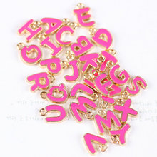 DIY Jewelry Accessories Mini Order 26PCS Mix A-Z Hot Pink Letter Charms Enamel Bracelet Phone Chain Keyring Oil Drop Charm(China)