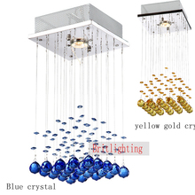 stainless steel base lighting blue crystal lighting GU10 bulb contemporary mini chandeliers lighting square base hanging lights