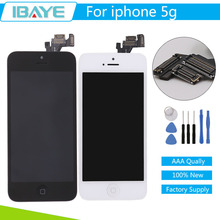 No Dead Pixel Glass For iPhone 5 LCD Screen with Touch Screen Digitizer + Home Button Camera Assembly Black/white + Tools