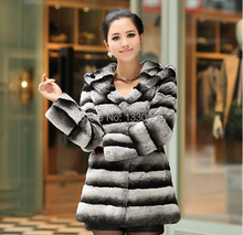 2016 High Quality Genuine Whole Hide Rex Rabbit Fur Coat For Women,Chinchilla Color with Hood Collar Winter Warm Coat AF145