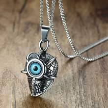Mens Punk Necklaces Evil Blue Eye Monster Head Pendant for Men Stainless Steel Vintage Male Bike Jewelry Halloween Gift 24""