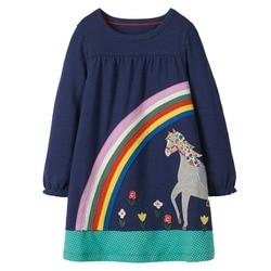 Платье-туника для девочек, синее трикотажное платье из 100% хлопка, с длинным рукавом, платье принцессы, осень-зима 2019