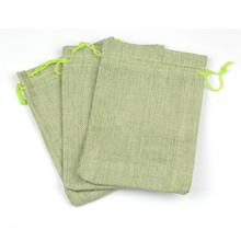 13x18cm 50pcs Natural Burlap Jute Drawstring Jewelry Bags For Tea Toy Cosmetic Gift Packaging Display Pouches Light Green