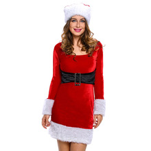 2017 New Winter Women Party Club Red Christmas Costumes Sexy Hot 2pcs Mrs Santa Claus Dress Costume Adult New Year Clothes 7219