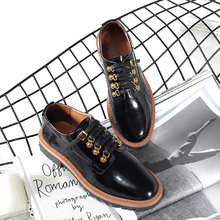Teahoo 2018 Spring Lace Up Oxfords Shoes Women Round Toe Patent Leather Flats Shoes Women Fashion Gold Buckle Shoes Woma(China)