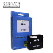 SSRIVER Mini HD Video Converter Box HDMI to RCA AV/CVSB Video 480P 720P 1080P HDMI2AV Support NTSC PAL Output HDMI TO AV Adapter
