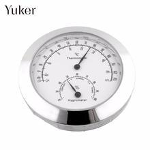 Yuker New Alloy Silver Round Humidity Moisture Thermometer Hygrometer Case For Guitar Violin Mini Useful Portable(China)