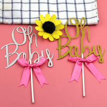 1pc Oh Baby Cupcake Cake Topper Bow-knot Cake Flag Kids Happy Birthday Baby Shower Children's Day Party Cake Decoration Supplies