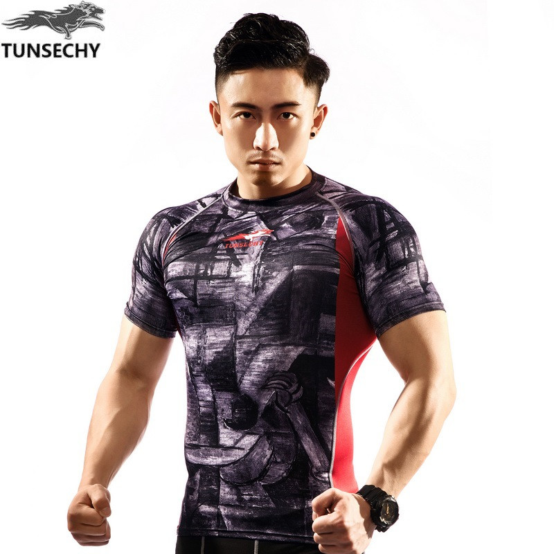 NEW Mens Compression Shirts Bodybuilding Skin Tight Short Sleeve Jerseys TUNSECHY brand Crossfit Outdoor sports bike t Shirt 272
