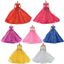 7 Colors Elegant Summer Clothing Gown For Barbie doll Handmake wedding princess Dress Beaty Doll Party Dress