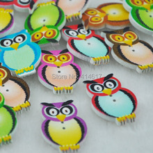 100pcs Wood Owl Accessories 2 Holes Button Craft Sewing 20x31mm WB223