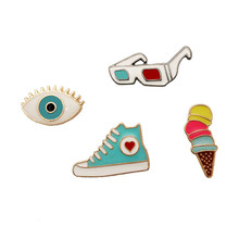 Fashion Cute Cartoon Glasses Eye Shoes Ice Cream Drip Oil Brooch Pins Button Pins Clothes Decoration jewelry Wholesale(China)