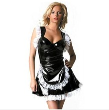Buy Fetish Punk Gothic Leather French Maid Cosplay Costume Sexy 100% PVC Lace Dress Halloween Latex Catsuit Nurse Lingerie S-XXL